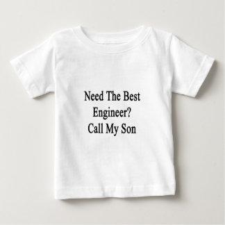 最も最高のなエンジニア呼出しを私の息子必要として下さい ベビーTシャツ