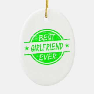 最も最高のなガールフレンドの緑 セラミックオーナメント