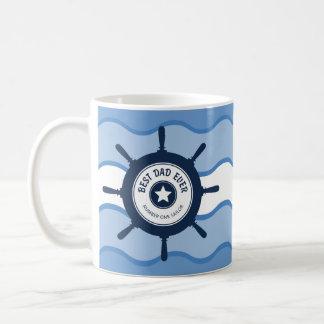 最も最高のなパパの青い船車輪および波 コーヒーマグカップ