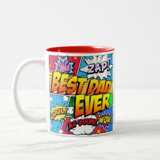 最も最高のなパパは漫画本を個人化します ツートーンマグカップ