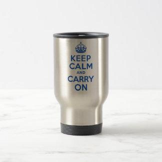 最も最高のな価格のKeep Calm and Carry Onの青 トラベルマグ