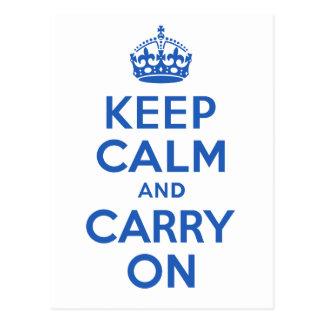 最も最高のな価格のKeep Calm and Carry Onの青 ポストカード