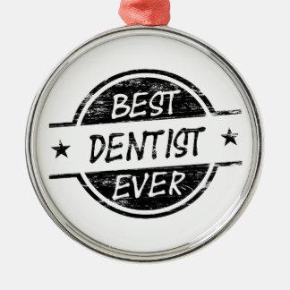 最も最高のな歯科医の黒 メタルオーナメント