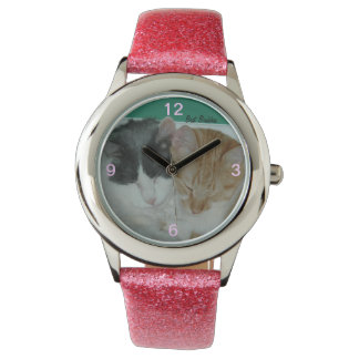 最も最高のな相棒の腕時計を休ませている2匹の猫 腕時計