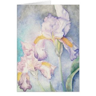 最も柔らかいアイリス花柄の水彩画 カード