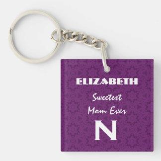 最も甘いお母さんの紫色のかぎ針編みは名前をカスタムするを主演します キーホルダー