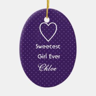 最も甘い女の子の王室のな紫色の水玉模様のギフトセット セラミックオーナメント