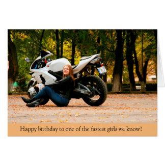 最も速い女の子のスポーツのバイクのオートバイのバースデー・カード カード