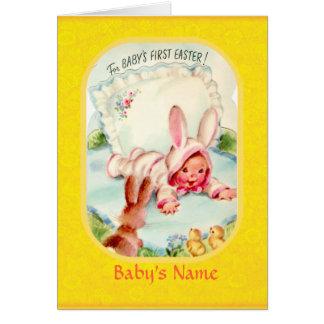 最初にバニーの衣裳車で服を着るイースター~のベビー カード