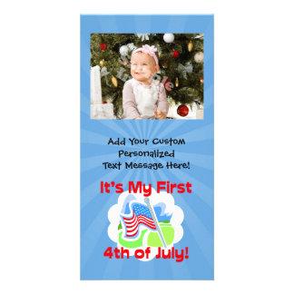 最初に7月のカラフルな青色児の第4 カード