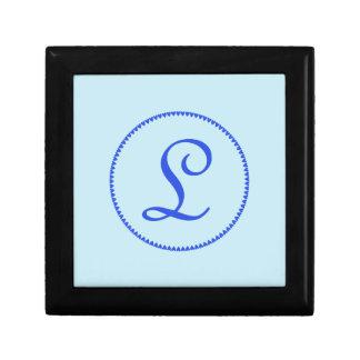 最初のモノグラムの手紙L青いハートの宝石箱 ギフトボックス