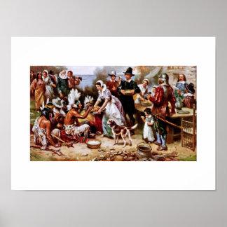 最初の感謝祭1621年。 ファインアートポスター ポスター