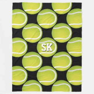 最初の緑のテニス・ボールパターン フリースブランケット