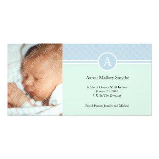 最初の青緑の男の子の新生児の誕生の写真カード カード