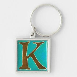 最初のKのkeychain、cloisonneのターコイズおよび茶色 キーホルダー