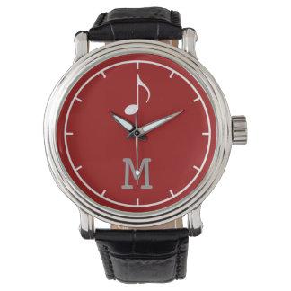 最初のMの音符の赤 腕時計