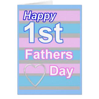 最初父の日のピンクおよび青い挨拶状 カード