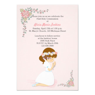最初聖餐のブルネットの女の子のピンクの招待状 カード