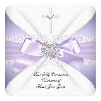 最初聖餐式のラベンダーの銀のハートの女の子 13.3 スクエアインビテーションカード