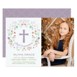 最初聖餐式の写真の招待状、女の子の招待 カード