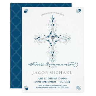 最初聖餐式の招待状の男の子の招待カード 11.4 X 15.9 インビテーションカード
