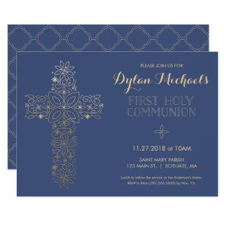 最初聖餐式の招待状、金ゴールドの十字の招待 11.4 X 15.9 インビテーションカード
