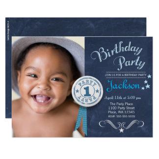 最初誕生日のパーティの招待状の男の子の黒板 12.7 X 17.8 インビテーションカード