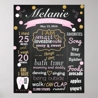 最初誕生日の黒板の印の紙吹雪 ポスター