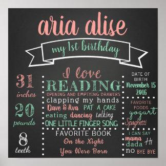 最初誕生日の黒板ポスター印 ポスター