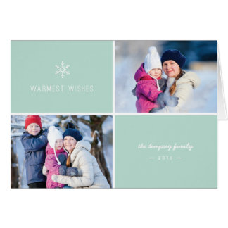 最初降雪の休日の挨拶状-ミント カード