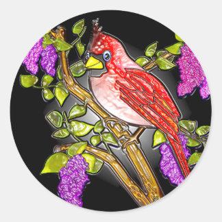最初(鳥)ショウジョウコウカンチョウ(ステッカー) ラウンドシール