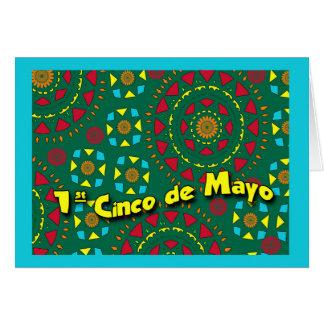 最初Cinco deメーヨーのカラフルで幾何学的なパターン カード