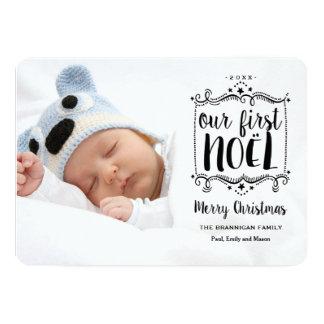 最初Noelのメリークリスマスの休日の写真カード 12.7 X 17.8 インビテーションカード