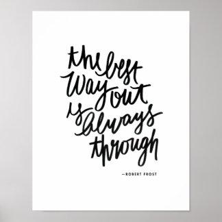 最善の道の刺激の引用文のブラシのレタリング ポスター