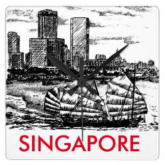最小主義のシンガポールの景色の時計 スクエア壁時計