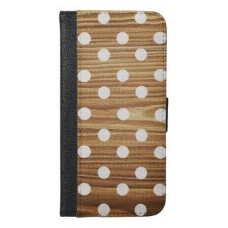 最小主義の木製のポルカドット iPhone 6/6S PLUS ウォレットケース