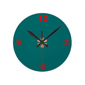 最小主義の海緑>明白な柱時計 ラウンド壁時計