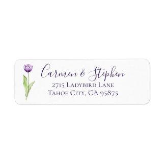 最小主義の濃紫色の独身のなチューリップの結婚式 ラベル
