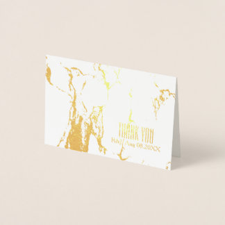 最小主義の結婚式の白い大理石は感謝していしています 箔カード