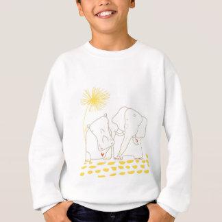 最小主義の象およびカバ-黄色および白 スウェットシャツ