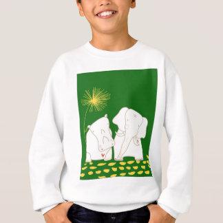最小主義の象およびカバ-黄色および緑 スウェットシャツ