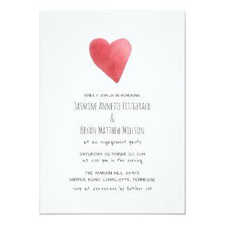 最小主義の赤い水彩画のハートの婚約パーティ カード