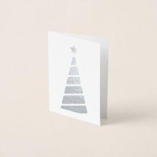 最小主義の金ゴールドのクリスマスツリー 箔カード