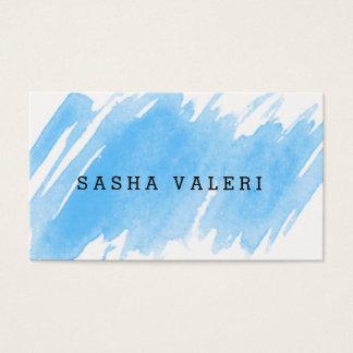 最小主義の青い水彩画の名刺 名刺