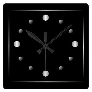 最小主義の黒く、銀製の柱時計 スクエア壁時計