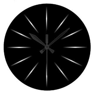 最小主義の黒く、銀製の柱時計 ラージ壁時計