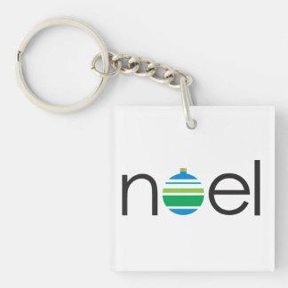 """最小主義の""""Noel""""の青および緑のクリスマス キーホルダー"""