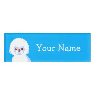 最小主義のBichon Friseのかわいい犬の漫画 名札