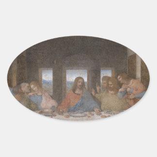 最後の晩餐のレオナルド・ダ・ヴィンチの遅い1490s壁画 楕円形シール