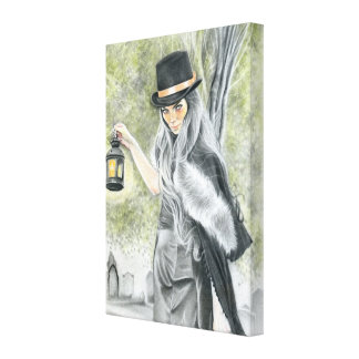 最後の蝋燭の暗い女性ゴシック様式包まれたなキャンバス キャンバスプリント